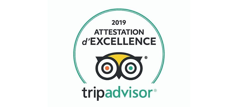 Attestation d'excellence Trip Advisor depuis 2016